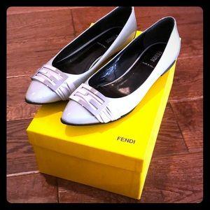 Fendi grey patent leather flats.